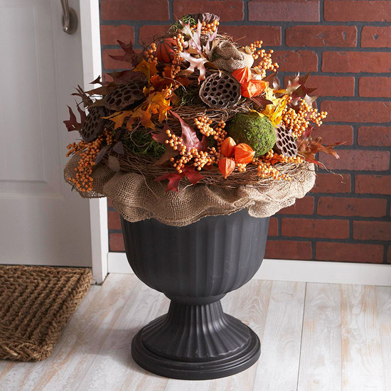 Decorative fall urn xenia nova for Pictures of fall decorations for outdoors