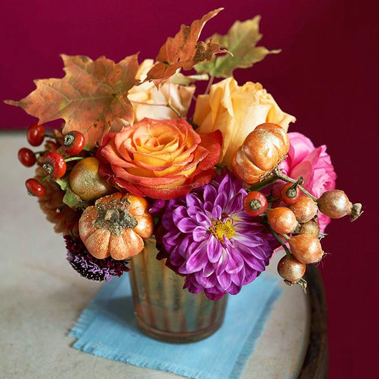 Bouquet Centerpiece Of Fall Flowers And Vegetables