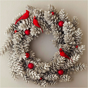 accent pinecones wreath with pops of color