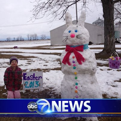 SNOW BUNNY: 3 year old Mackenzie Kincaid in Lowell, IN is ready for Easter.